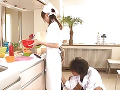 18 yo Japanese playgirl Asuka does her job in the kitchen when this chap starts playing with her cunt. That hottie tries to ignore him and proceeds cooking but that fake penis that guy uses makes things very difficult for the gorgeous oriental girl. What do u think, is this hottie good at fucking as this hottie is at cooking?