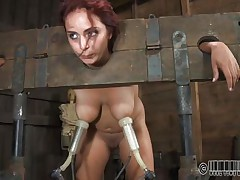 Ashley Graham is tied up in shackles with a milking machine attached to her huge breasts. This babe a impure whore and those studs punish her with humiliating tasks. She's tied to her chair so you can acquire a better look at her huge melons.