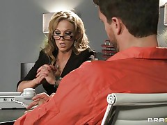 Look at that blond lawyer talking to an accused man. Look at those big zeppelins and her sexy ass getting that guy extremely horny. Do u think She will get some spunk on her juicy lips or some hard ramrod in her tight ass?