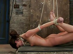 Take a look at these hot brunettes, one is tied up and the other one lubes her fingers and then waits until a guy ties the other honey neck. After this babe is completely immobilized the chick fingers hard that fur pie during the time that this babe takes a hard cock in her mouth. She's getting drilled in her face hole and twat in the same time and the fact that she's tied up is only increasing her pleasure, what a slut!