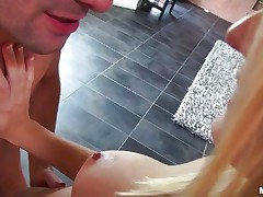 This pair is having hard wild sex. The stud is fucking very unfathomable this cute blond with diminutive and admirable tits. He is penetrating her from behind making the floozy moaning of pleasure. They are going on the bed and the youthful cutie is engulfing stud big knob and starts to ride it very fast and intense.