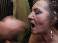 Jana is a 64 years old lady and that honey likes to get her cookie drilled by a young cock. That honey is being deep permeated by that young guy during the time that they are right in the bed. I am sure that this brunette bitch wants some more and it just ended with a jizz flow on her face just after a admirable blowjob.