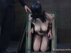 Freshly out of the box the milky white brunette with large soft mambos receives a rough mouth fucking from her executor. After warming her up with his cock the guy puts her on the floor with her legs up and inserts a speculum in her tight pussy. Like how it looks inside, some semen would make it look more good