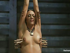 Hispanic girls are hot and the fact that Lyla is tied and punished makes her even hotter. Her executor putted clothespins on her body and this chab rubs her clit with a sex-toy making her scream with pang and pleasure. This hottie loves it and her tight body barely handles all that stimulation. Will she get drilled too?