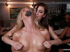 Blonde older Simone Sonay likes being punished in public places. This babe likes having her legs bound in a slavery device as this babe stands. Watch her groaning with pleasure as Mark Davis and his allies are hanging a bucket to her labia in which they pour their drinks to make it heavier.