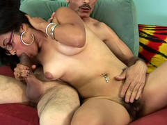Slutty plump playgirl gets her hot hirsute cum-hole fucked by a dick!