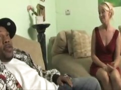 Golden-haired milf in a red suit wants huge darksome dick