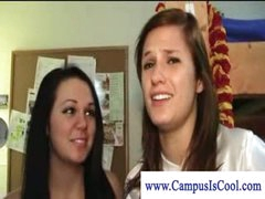 Lesbian college cuties in naked dorm joy