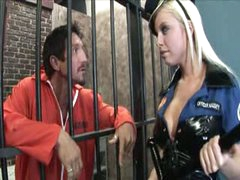 Busty blonde honey penetrated in prison