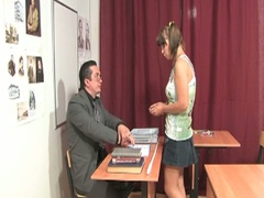 Cute little brunette receives nailed by her teacher