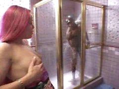 Darksome angel sucks monster black dong in shower
