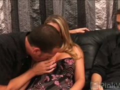 Busty blond milf aline gets bumpers sucked by 2 males