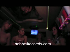 Drunk college hotties show titties in limo