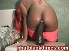 Naughty black ghetto freak acquires drilled with big toy