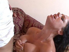 Angela Aspen uses her heavy love bubbles to titty fuck her dude partner here, getting on her knees and blowing his schlong until the load is popping right onto her tongue.  This Playgirl desperately wants to smack that sweet cream and works it to the finish.