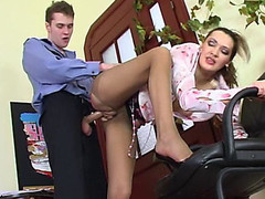Lusty mature cutie in control top tights luring policeman into fucking frenzy