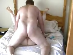 A pair of fat people get to share a love for a little meat on their partner. She's got the large boobs that turn him on, and he's got a fat pecker to satisfy her. See 'em work their bodies together and get messy!