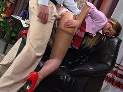 Upskirt maid getting her anal opening filled with anal beads in advance of unbending pole