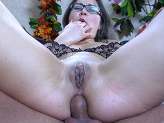 Upskirt chick in glasses acquires her curvy behind licked and dicked by a stud