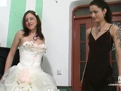 Sexy bride in white stockings savoring strap-on amusement for the last time