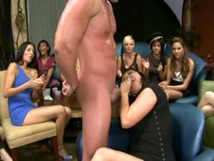 Hot young college gals can?t resist engulfing pecker at the nightclub