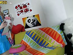 The horny Panda found this time a girl obsessed with him! This gal has a poster with panda on the wall and draws a picture of him now. She's so slutty and happy that lastly panda visited her but does this babe knows what his intentions are? Well this babe maybe a bit innocent and stupid but that's how panda likes it!