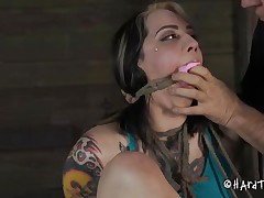 Being a naughty cunt and taking off her panties way to often Angel acquires an humiliating castigation that she will hardly forget. The executor takes her panties off and stuffs her mouth with them! He then uses duct tape over her mouth and gapes that agreeable shaved cunt. Now that guy tied her on the chair, curious why?