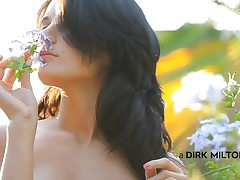 Luiza smells the flowers and acts gentle, just like a lady should. This babe loves nature and relaxes in the midst of it with her boy. Luiza approaches, sits on top of the man and begins giving a kiss him tender. Look at her butt, so taut and firm, just like her tits are. This babe forgets about the flowers and starts sucking cock.