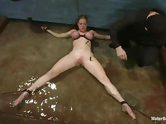 Blonde Darling is fastened on the floor with her large boobs squeezed and her sexy body tortured with laundry pliers. She starts to panic because the water level is rising and pretty soon breathing will be a large problem for her pretty mouth. What will that babe do if her femdom-goddess decides that she's not worthy to breath.