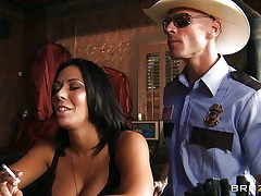 This sexually excited policeman finds a nice milf in a bar and when that playgirl sees him that playgirl grabs him by the collar and begins getting horny. He takes her large sexy boobs out squeezing and giving a kiss 'em and after that grabs this slut by the neck and gives her his cock. See her as that playgirl sucks his dick with pleasure, is that playgirl going to get some spunk?