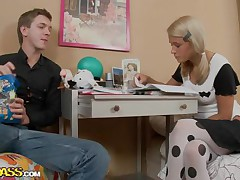Celia and her boyfriend are studying hard, trying to get good grades but all her boyfriend can think about is that sexy body out of clothing on. He pretty soon gets her sexy and naked, burying his face in her bald beaver, making her moan and writhe on the daybed before getting on top, plowing her deeply.