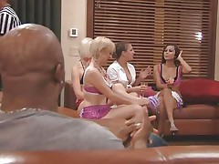 The couples gathered together in a room and the men sit quietly as their wife talked about sex and how they should fuck. A fat Chinese prick is being interviewed and his opinion is that this stuff is just like dating. Well now, let's leave 'em to talk as we enjoy how these naughty blonde cunts have some fun.