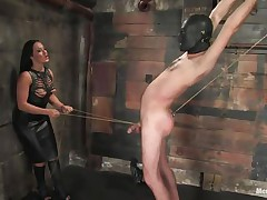 Marioara is a slut from Romania, this whore has the skills to satisfy each guy that wants some domination and pain. Here this sweetheart is in full act taking nice care of her sex slave, Lefty, and this sweetheart does her majority good 1st by using a rope betwixt his legs and then whipping him, now this sweetheart thonged on a dildo, what will this sweetheart do with it?