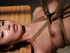 Have a look at this hawt cunt, she's all tied up and hangs there quietly until that babe acquires roughly mouth drilled with a dildo. The intensity and brutality of the fucking makes our slut horny! She's not only fucked, the executor slaps her and strangulates her too. After all that he leaves the floozy hanging in the black