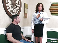 Veronica knows how to take care of her patients. She examines this man and then makes a decision that the perfect treatment for him would be a mean blowjob. The sexy milf doc opens her mouth with pleasure and slips her lips and tongue in that big hard penis. Will she acquire repaid with a big load of semen on her face?