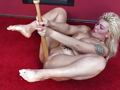Because dildos and hard cocks are not enough anymore I one time used a baseball bat to fuck myself. It felt so wonderful ripping my pussy with that bat and the only thing I could thought was to stick it deeper in me. Hope u males have a fun the show and u will stay with me as I have a lot more to play with!