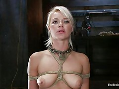 She's a thin sexy blond with a pair of lips that are perfect for engulfing penis and a bubble butt that demands some serious fucking. Watch her as she's fastened up and hangs there while the bald chap copulates her slit hard and his friend takes care of her mouth. That hottie enjoys a ruff fuck, will this hottie have a fun some sperm too?