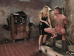 That babe got her guy tied nice-looking wonderful and now she's having some joy with his body, paying a lot of special attention to his cock. This sexy bossy milf with blonde hair and fit body is using her tools to taunt and induce pain to her man. Look at her spanking his 10-Pounder and body as he's tied up and ball gagged.