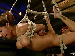 Francesca Le is a hawt milf who's bound and getting vibed and dildo-fucked by Maitresse Madeline. Francesca acquires permission to cum and this babe does. Next the position changes and Maitresse acquires the ding-dong and plunges unfathomable into Francesca's taut asshole, making her moan loudly through her ball gag.
