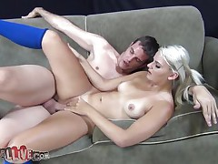 Milf golden-haired with sexy whoppers and nice ass is being drilled sideways on the sofa. This chick moan hard while being drilled hard with a big cock. This chick is then directed to spin the wheel to check what other sex activity she has to perform. This chick spins it and it results in riding on a machine. This chick rides on the machine which is controlled remotely by other guy.
