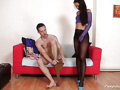 This pair is in loved. They enjoy some intimate time by fucking and they let us see what they do with their sexy bodies. The boy and the beauty are wearing pantyhose and this is clearly a pantyhose love session. They rub their bodies and taunt each other, how will it end?