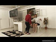 Kicsi was a bad boy and fooled around in the classroom making his teacher very very angry and now that honey has to castigate him with some spanks on his ass. This guy screams as that honey does that but this won't softer her, instead it makes the mature teacher horny so that honey rubs his hard shlong and sucks it admirable and slow then offers her pussy to him to lick.