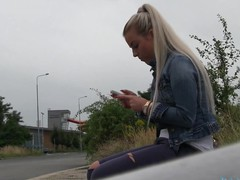 So I spot a sexy golden-haired cutie at the bus stop. This Babe didn't realise that the bus that honey was expecting for was going to be some other 45 minute.  I offered her a lift home in my car.  On the way to her abode I offered her a fake job, but that honey must prove how much this honey really wanted the job.