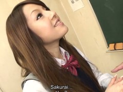 Hawt dark brown hair student Ria Sakurai receives bare for school principal after the classes and receives her slit stimulated by vibrator in advance of that babe gives head to him and other professors on her knees and getting banged hardcore in group sex session on the desk
