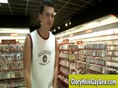 Gay straight gloryhole oral job