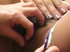Gorgeous asian slut on sexy undies lets her snatch get licked by her...