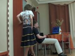 Dude watching porn tempted by dark brown milf