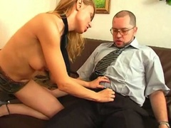 Blond seduces her boss and bonks him